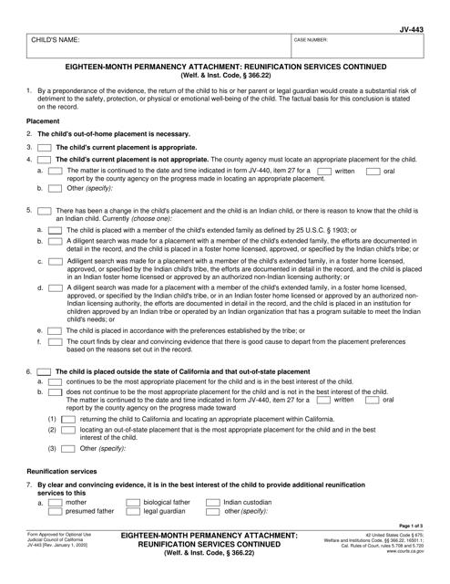 Form JV-443 Printable Pdf