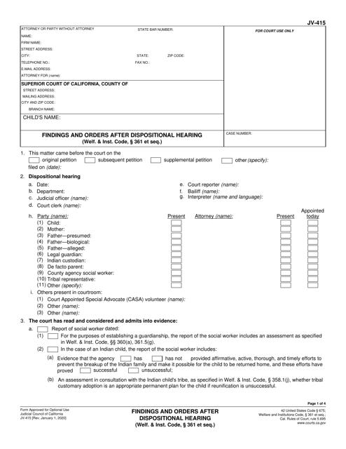 Form JV-415 Printable Pdf