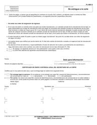 """Formulario FL-665 S """"Determinaciones Y Recomendaciones Del Comisionado"""" - California (Spanish), Page 3"""
