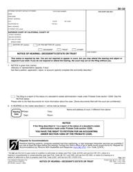 "Form DE-120 ""Notice of Hearing - Decedent's Estate or Trust"" - California"