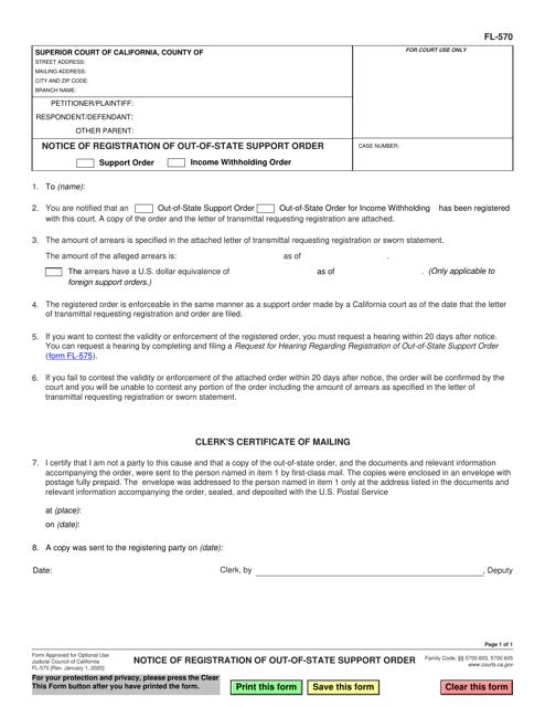 Form FL-570 Printable Pdf