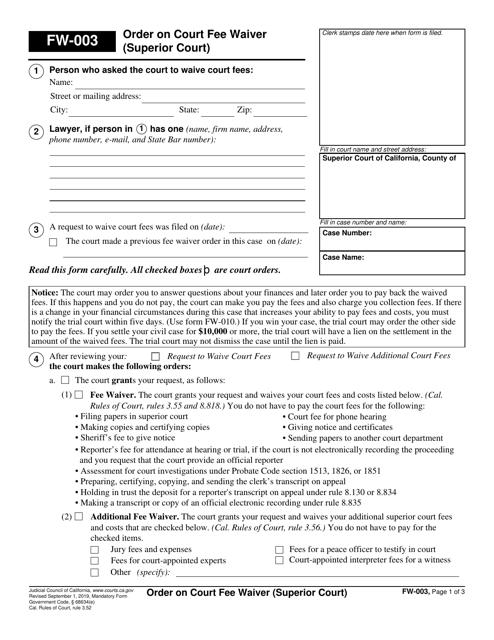 Form FW-003 Printable Pdf