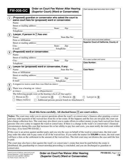 Form FW-008-GC  Printable Pdf