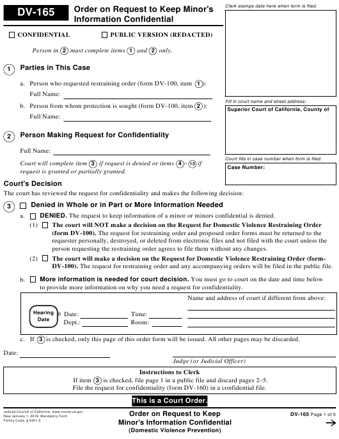 Form DV-165  Printable Pdf