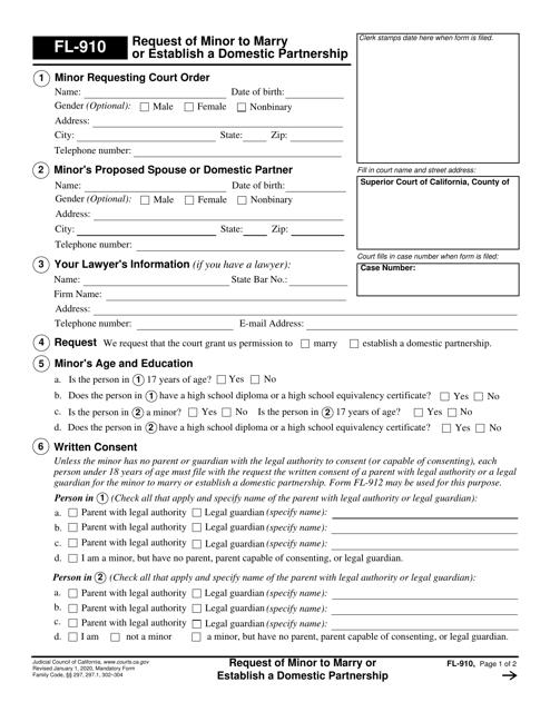 Form FL-910 Printable Pdf