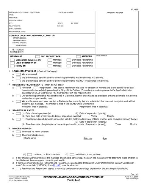 Form FL-120 Printable Pdf