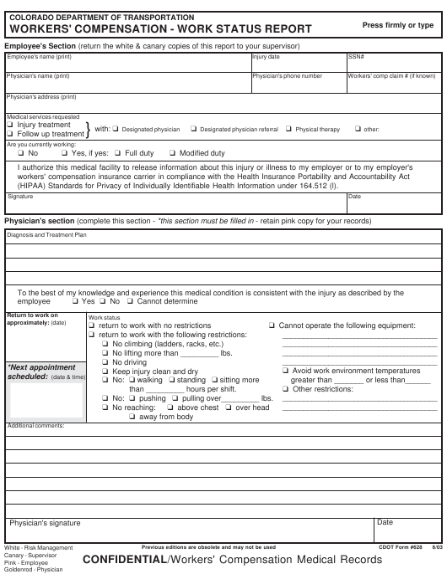 CDOT Form 628  Printable Pdf