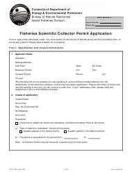 "Form DEP-FISH-APP-002 ""Fisheries Scientific Collector Permit Application"" - Connecticut"