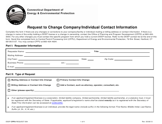 Form DEEP-CPPU-REQUEST-004  Printable Pdf