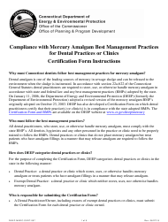 "Form DEEP-MERC-CERT-007 ""Certification Statement Form for Dental Practices or Clinics Concerning the Management of Mercury Amalgam"" - Connecticut"