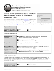 "Form DEEP-AIR-REG-001 ""General Permit to Limit Potential to Emit From Major Stationary Sources of Air Pollution Registration Form"" - Connecticut"