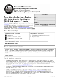 """Form DEEP-OPPD-APP-100 """"Permit Application for a Section 401 Water Quality Certificate - FERC Hydropower Projects"""" - Connecticut"""