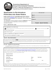 "Form DEEP-PEST-APP-201 ""Application to Re-introduce Pesticides Into State Waters"" - Connecticut"