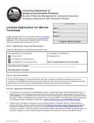 "Form DEEP-MT-APP-300 ""License Application for Marine Terminals"" - Connecticut"