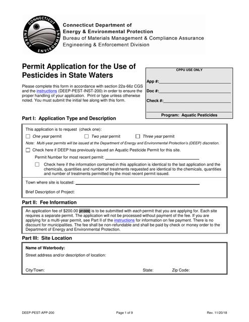 Form DEEP-PEST-APP-200  Printable Pdf