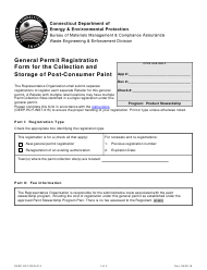 "Form DEEP-RCY-REG-013 ""General Permit Registration Form for the Collection and Storage of Post-consumer Paint"" - Connecticut"