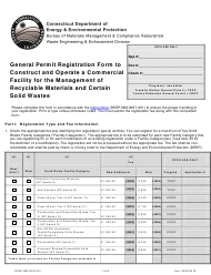 "Form DEEP-MM-REG-001 ""General Permit Registration Form to Construct and Operate a Commercial Facility for the Management of Recyclable Materials and Certain Solid Wastes"" - Connecticut"