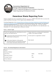 "Form DEEP-HHW-REPORT-001 ""Hazardous Waste Reporting Form"" - Connecticut"