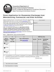"""Form DEEP-WPED-APP-100 """"Permit Application for Wastewater Discharges From Manufacturing, Commercial, and Other Activities"""" - Connecticut"""