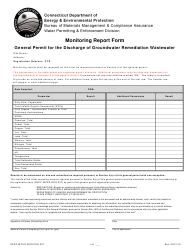 "Form DEEP-WPED-MONITOR-027 ""Monitoring Report Form General Permit for the Discharge of Groundwater Remediation Wastewater"" - Connecticut"