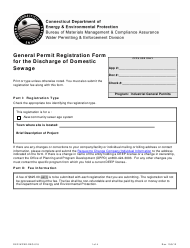 """Form DEP-WPED-REG-018 """"General Permit Registration Form for the Discharge of Domestic Sewage"""" - Connecticut"""