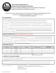 """Form DEEP-WPED-SMR-015 """"General Permit for the Discharge of Stormwater and Dewatering Wastewaters From Construction Activities, Issued 8/21/13, Effective 10/1/13 Stormwater Monitoring Report"""" - Connecticut"""
