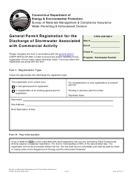 "Form DEEP-WPED-REG-004 ""General Permit Registration for the Discharge of Stormwater Associated With Commercial Activity"" - Connecticut"