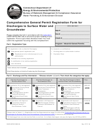 "Form DEEP-WPED-REG-28 ""Comprehensive General Permit Registration Form for Discharges to Surface Water and Groundwater"" - Connecticut"