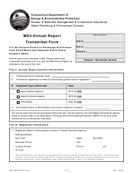 """Form DEEP-WPED-REG-021A """"Ms4 Annual Report Transmittal Form for the General Permit to Discharge Stormwater From Small Municipal Separate Storm Sewer Systems (Ms4)"""" - Connecticut"""