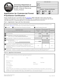 "Form DEEP-FOR-APP-100 ""Application for Commercial Forest Practitioner Certification"" - Connecticut"