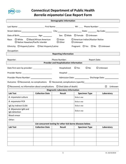 """Borrelia Miyamotoi Case Report Form"" - Connecticut Download Pdf"