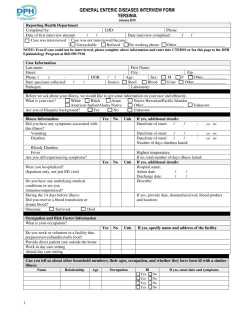 """General Enteric Diseases Interview Form - Yersinia"" - Connecticut Download Pdf"
