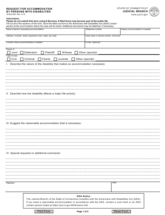 Form JD-ES-264 Printable Pdf