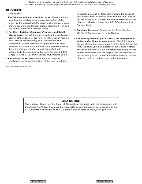 Form JD-CL-12  Printable Pdf