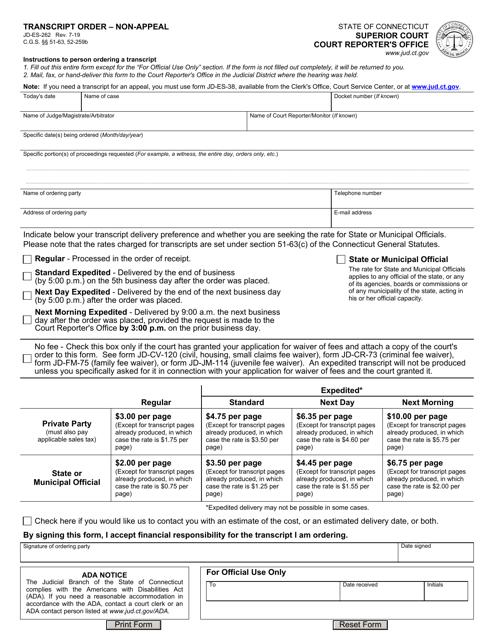 Form JD-ES-262  Printable Pdf