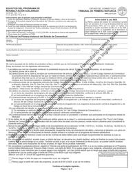 "Formulario JD-CR-9S ""Solicitud Del Programa De Rehabilitacion Acelerada"" - Connecticut (Spanish)"