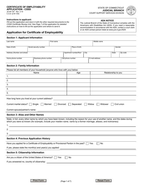 Form JD-AP-187 Printable Pdf