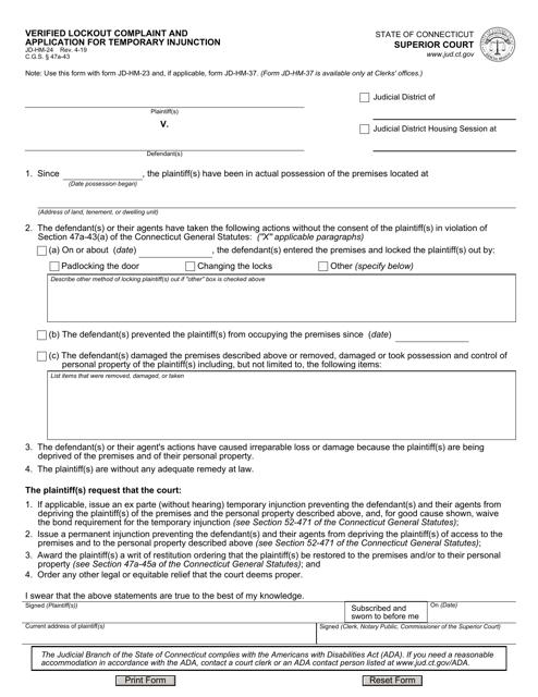 Form JD-HM-24  Printable Pdf