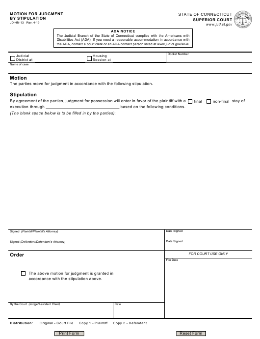 Form JD-HM-13 Printable Pdf