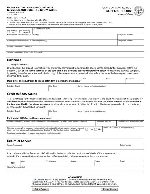 Form JD-HM-23  Printable Pdf