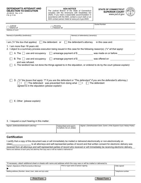 Form JD-HM-26 Printable Pdf