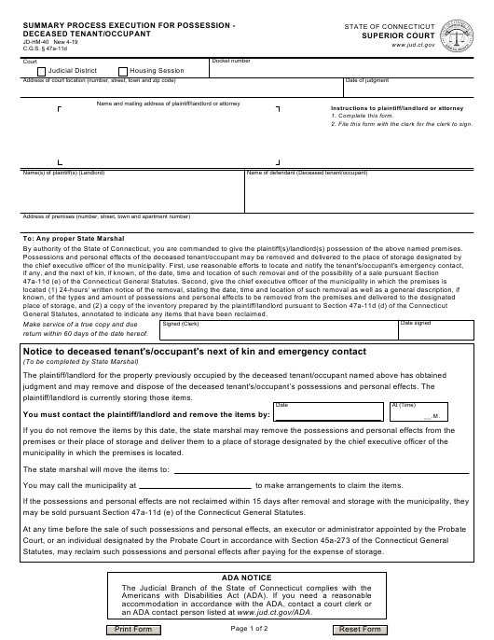 Form JD-HM-40  Printable Pdf