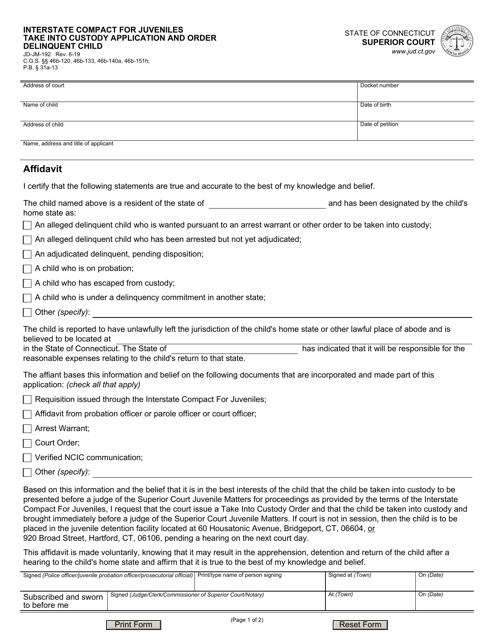 Form JD-JM-192 Printable Pdf