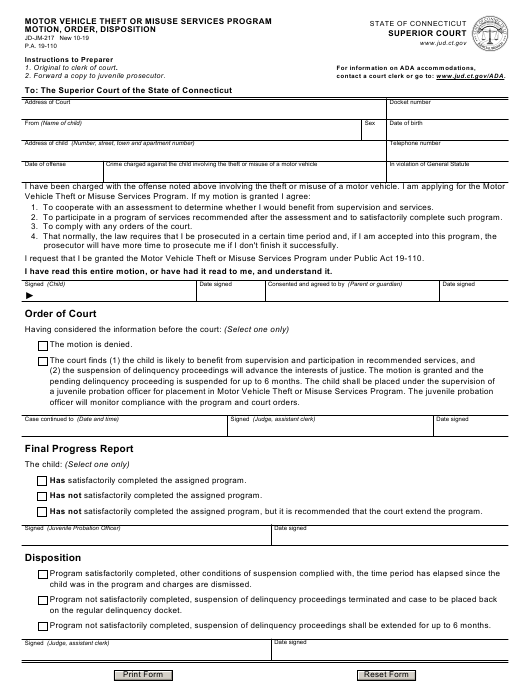 Form JD-JM-217  Printable Pdf