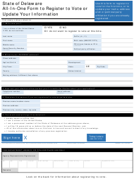 """Form VRFM007 """"All-in-one Form to Register to Vote or Update Your Information"""" - Delaware"""