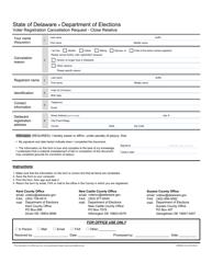 "Form VRFM003 ""Voter Registration Cancellation Request - Close Relative"" - Delaware"