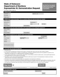 "Form VGFM005 ""Voting Machine Demonstration Request Form"" - Delaware"