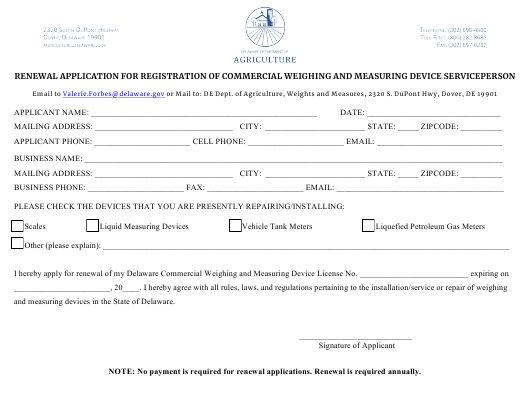 """""""Renewal Application for Registration of Commercial Weighing and Measuring Device Serviceperson"""" - Delaware Download Pdf"""