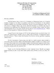 """Certificate of Registered Series of Limited Liability Company"" - Delaware"