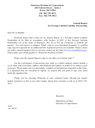 """Annual Report for Foreign Limited Liability Partnership"" - Delaware"